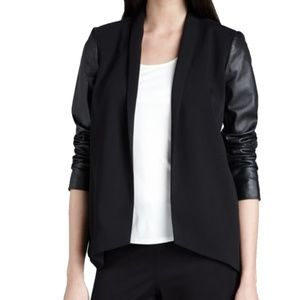 Tropical Suiting Leather Sleeve Open Front Jacket